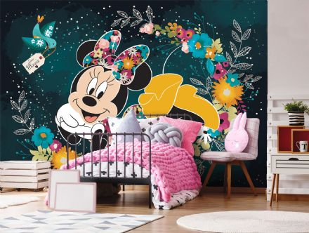 Minnie Mouse green & black photo wallpaper